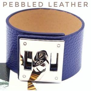 Silver Turn Key Adjustable Blue Leather C
